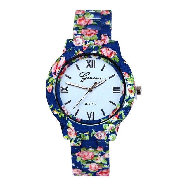 0d20d802937 Nova Moda Relógio de Genebra Assistir Mulheres de Luxo Flores Impresso Casual  Quartz Watch Popular Elegante