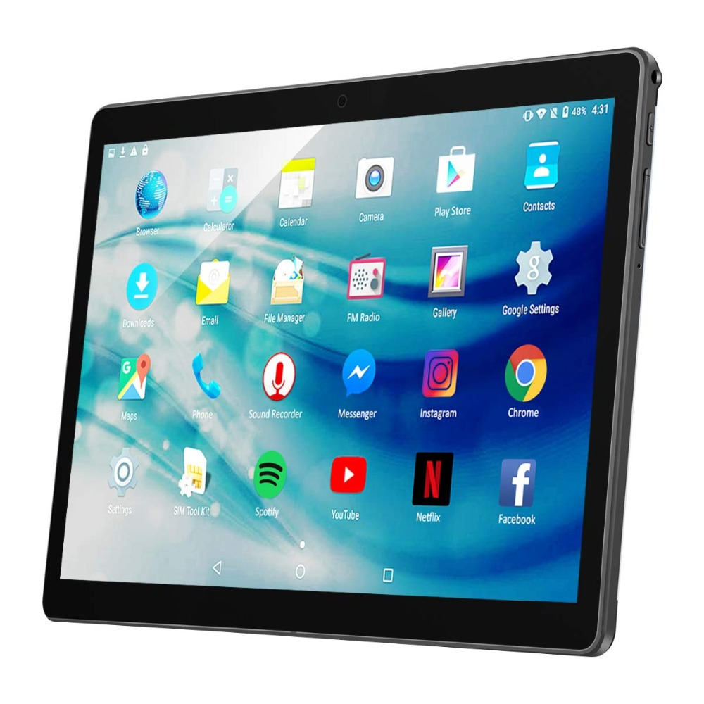 ZONNYOU Android 7.0 Tablet PC 10.1-inch 4GB RAM 64GB ROM Dual Sim Tablet Deca Core 3G 4G Phone Call Wifi Bluetooth GPS Tablet PC