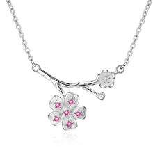 KOFSAC Hot 925 Silver Necklaces For Women Jewelry Classic Zircon Pink Cherry Blossoms Tree Branch Necklace Lady Engagement Gifts