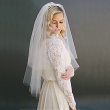 Simple and Elegent  Wedding Veil Bridal Tulle Veils with Comb Lace Ribbon Edge White ivory(Default send ivory)