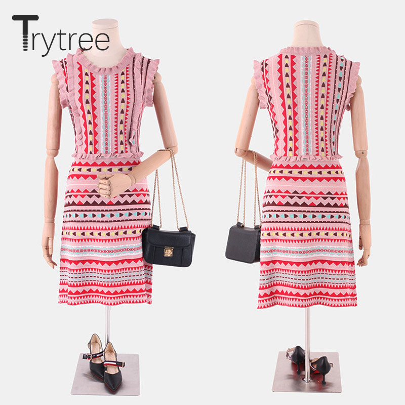 Trytree Women Summer Autumn Fashion Dress Vintage Ruffled Casual Elastic Mini Dress Party Polyester Shirt Pink Knitted Dresses