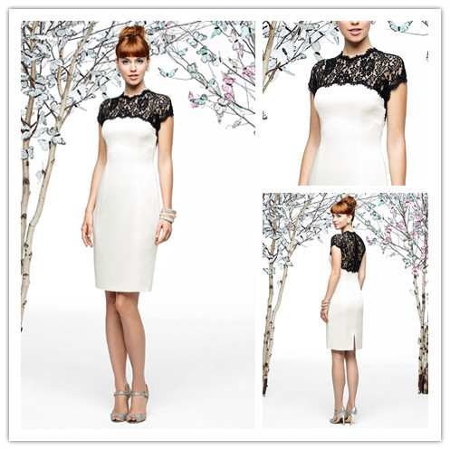 White Short Fashion Party Dresses Short Sleeve 2015 Sexy Black Lace New Knee-length Mother Of The Bride Dresses For Weddings