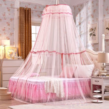 Baby Children Elegant Lace Bed Dome Elegent Lace House Bed Netting Canopy Circular Pink Malla De Round Dome Bedding Mosquito Net(China)