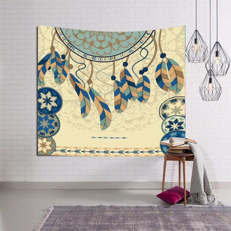 Mandala Indian Tapestry Hippie Feather Printed Wall Hanging Carpet Bohemian Beach Towel Polyester Summer Shawl Blanket Yoga Rug