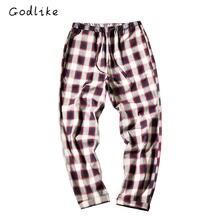 GODLIKE  2018 fall fashion home pants/Men's casual trousers/Plaid pants/South Korean tartan slacks