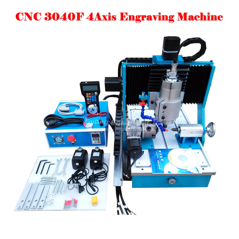 CNC mill 3040F 4 Axis metal wood plastic cnc milling machine with water cooled spindle 1500w cnc router