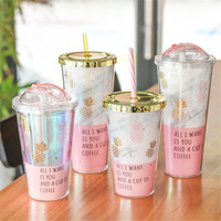 Creative Portable Mug Gold Plating Pineapple  Plastic Double Layer  Summer Juice Icecream Cup With Straw Coffee Milk Cup