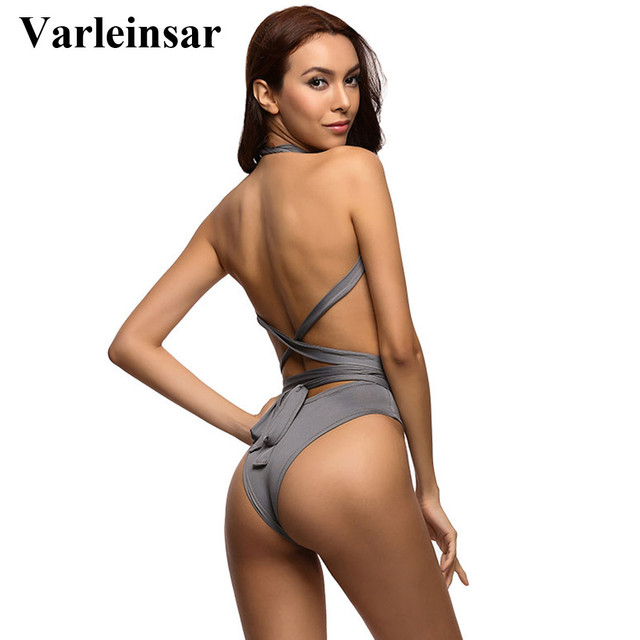 2017 New Sexy Deep V Neck wrap around High waist one piece swimsuit women swimwear Female bathing suit swim wear Monokini V307
