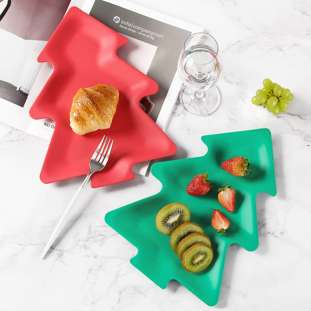 European tableware 4pcs Bamboo fiber Red Christmas Tree Green Dishware Set Solid Color dishes salad plate Steak plate for Gifts