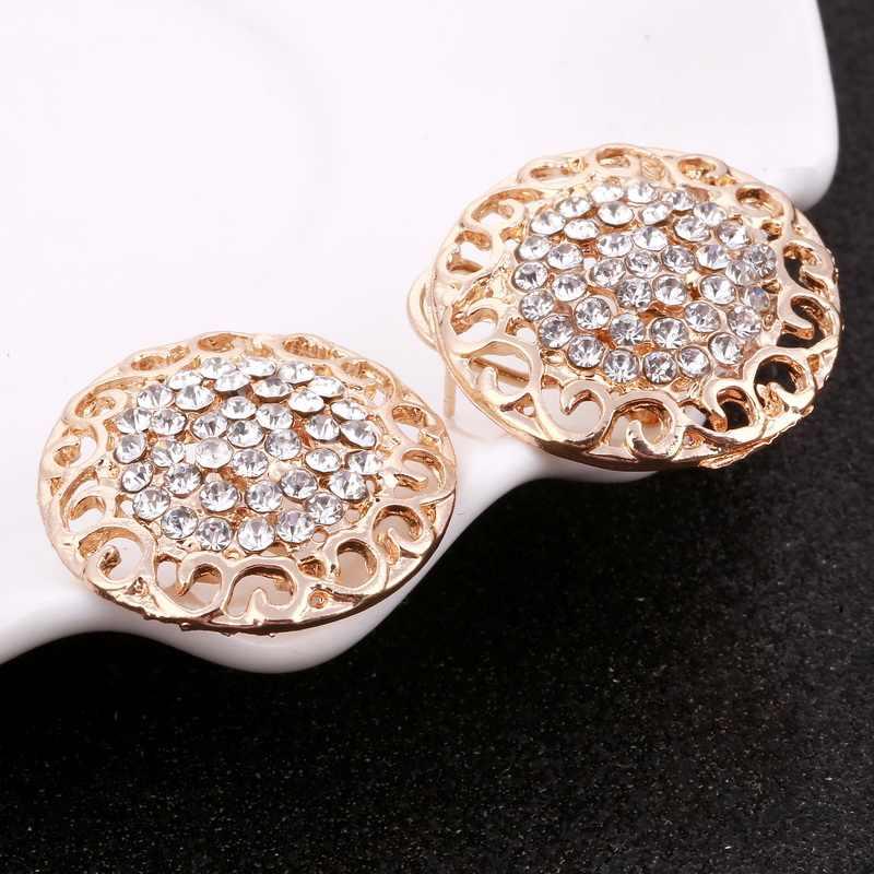 MINHIN נשים עדין זהב כלה תכשיטי סטי ריינסטון תליון צווארון צמיד קריסטל עגילי טבעות אביזרי חתונה