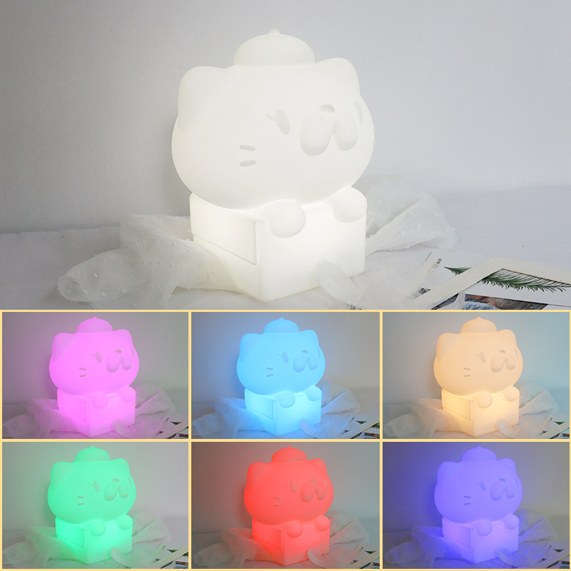 USB Cartoon Box Cat Baby Feeding Night LED Night Light Children's Room Decoration Christmas Birthday Novelty Gift Table Lamp