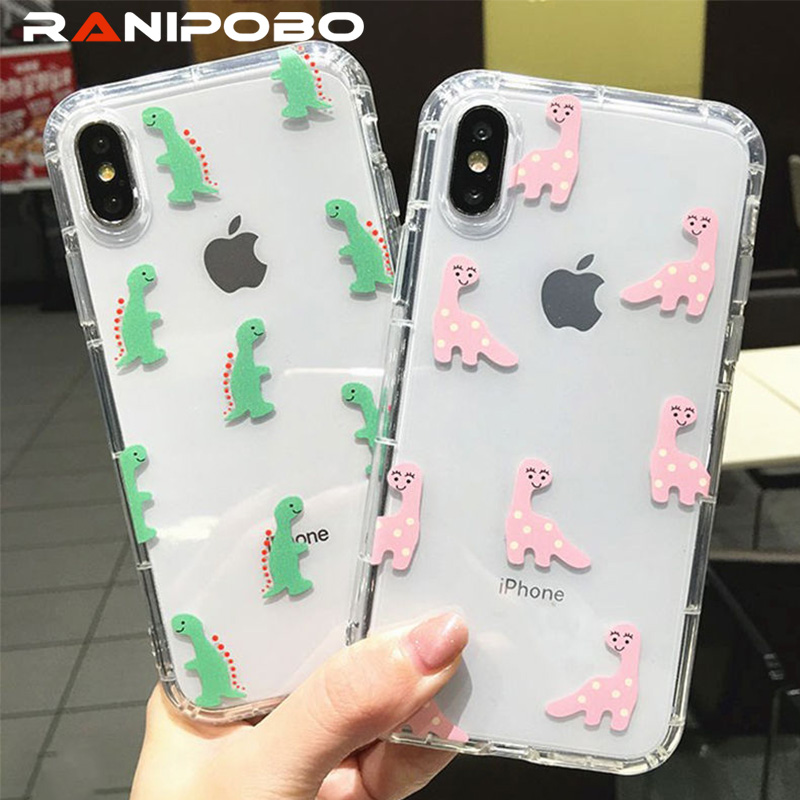 Cute Cartoon <font><b>Dinosaur</b></font> Transparent Phone <font><b>Case</b></font> For <font><b>iphone</b></font> X XS XR XS Max 6 6s Plus <font><b>7</b></font> 8 Plus Soft TPU Animal Couples Cover <font><b>Cases</b></font> image