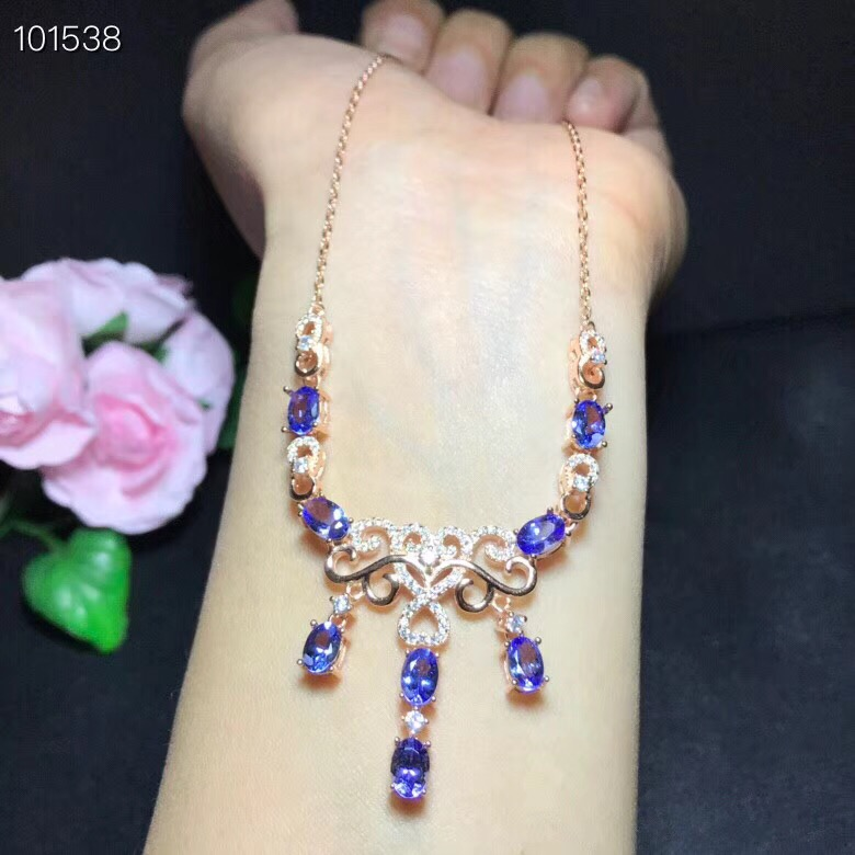 Natural tanzanite necklace, luxurious style, 925 silver, beautiful color, latest designNatural tanzanite necklace, luxurious style, 925 silver, beautiful color, latest design