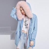 Luxury 2017 Winter Jacket Women Mid Long Jeans Parka Real Fox Fur Collar Hooded Flocking Thick Warm Female Jacket Streetwear
