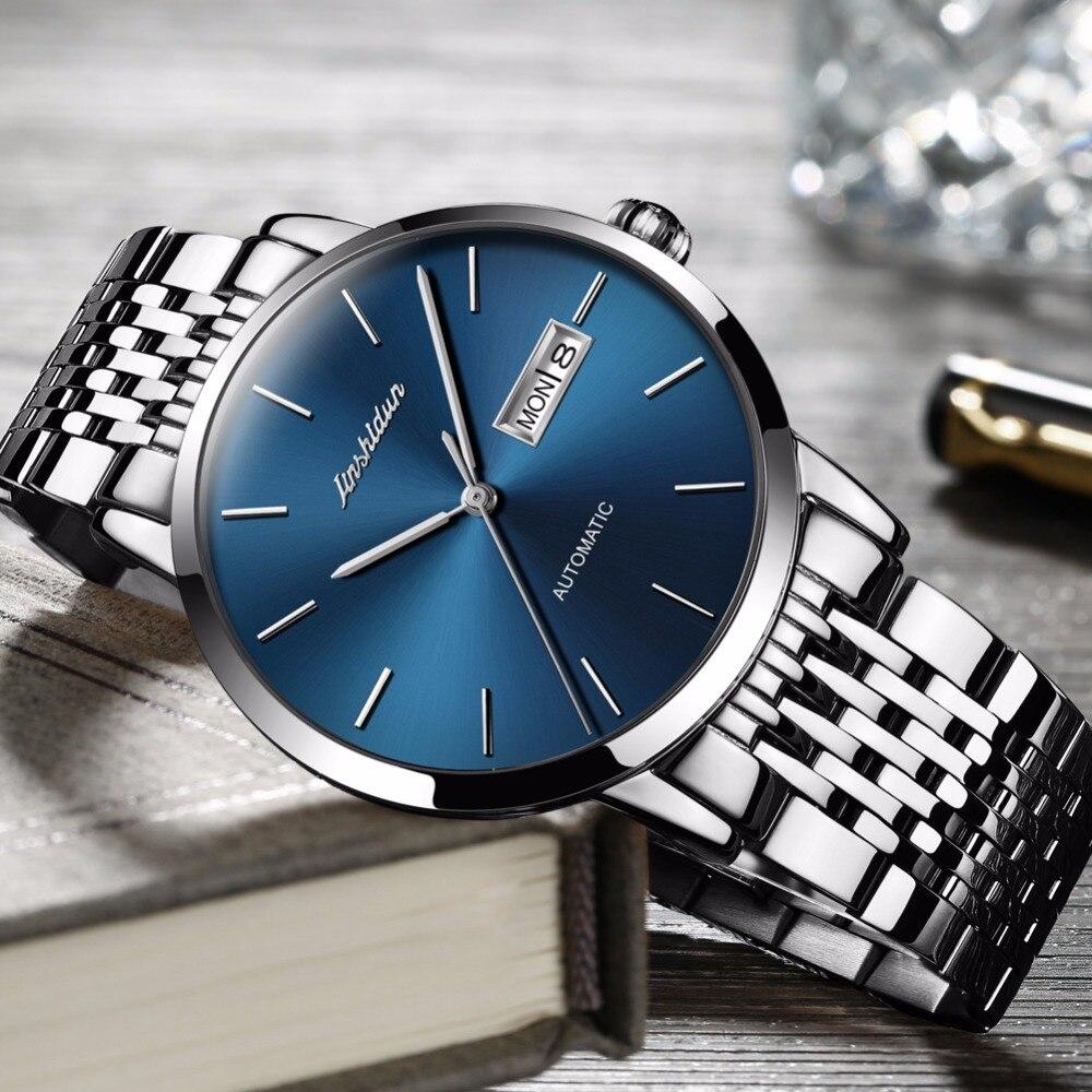 JSDUN Relógio automático Homens Famosa Marca De Luxo de Alta Qualidade Relógios Movimento relogio masculino Relógio À Prova D' Água erkek kol saati