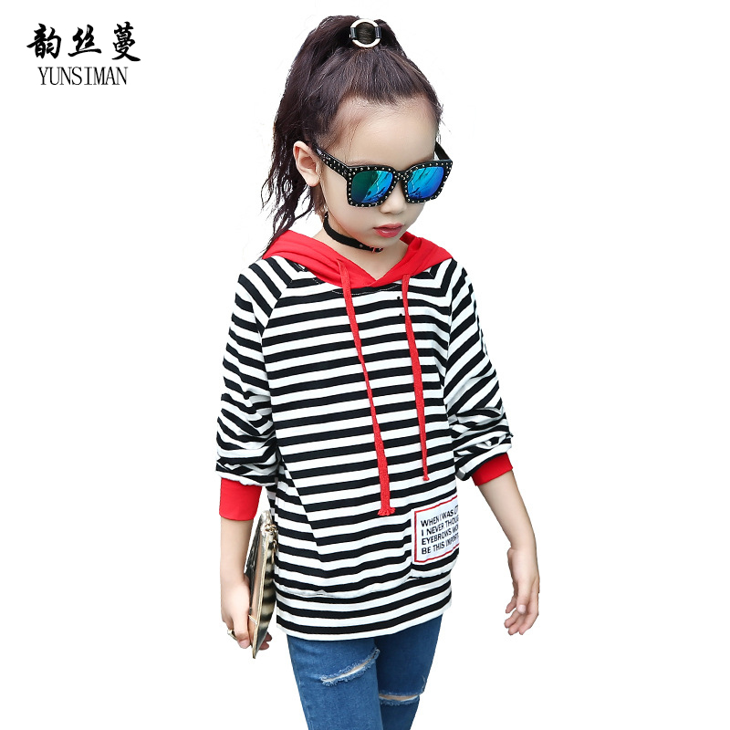 Kids Hoodies for Girl and Boys 4 - 12 Y Children White Stripes Long Sleeve Cotton Tops Shirt with Hat Teens Sport Clothing 12C12