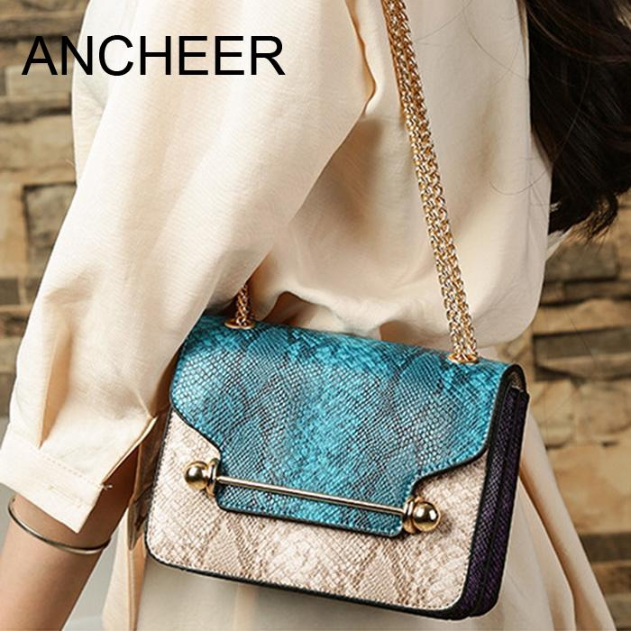 Bag Embossing Soft Wristlet Clutch Crossbody Snake with Chain Strap