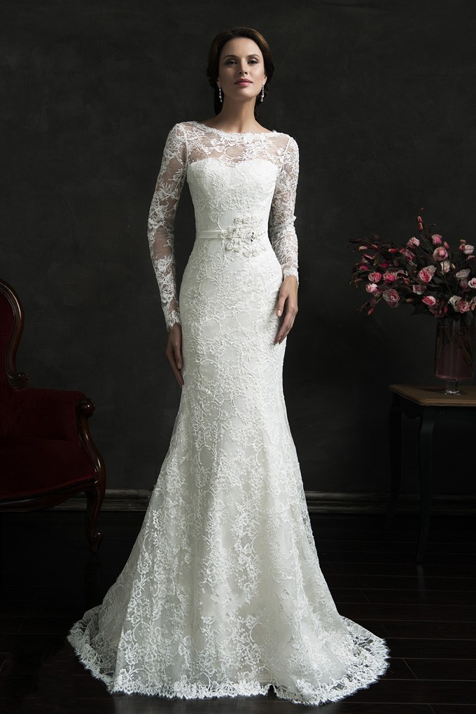Sexy backless long sleeve lace wedding dresses 2015 hot for Long wedding dresses with sleeves