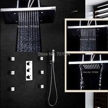 6 unids chorros de masaje ducha termostática Set grifo con ducha de mano LED lluvia latón cabezal de ducha