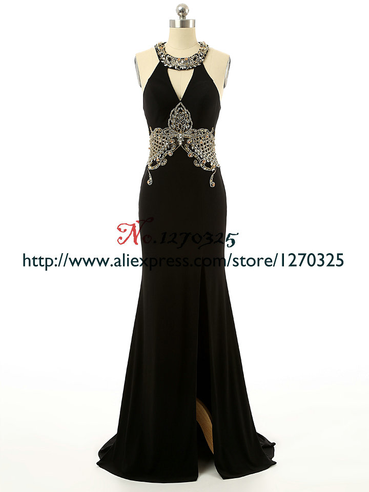 Robe de soiree 2018 new chiffon crystal high split open sexy mermaid black turkish evening gowns real photo caftan