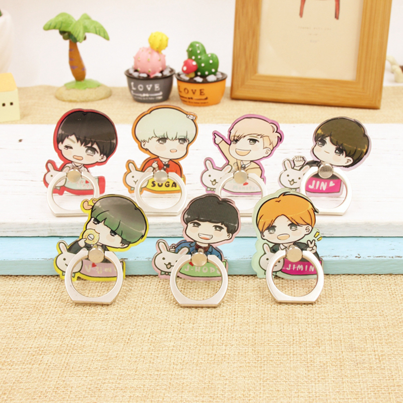 Kpop BTS Bangtan Boys Album V Suga Jungkook Jimin Jhope J-hope Jin Case Rings 360 Degree Finger Stand Holder Rings ZHK