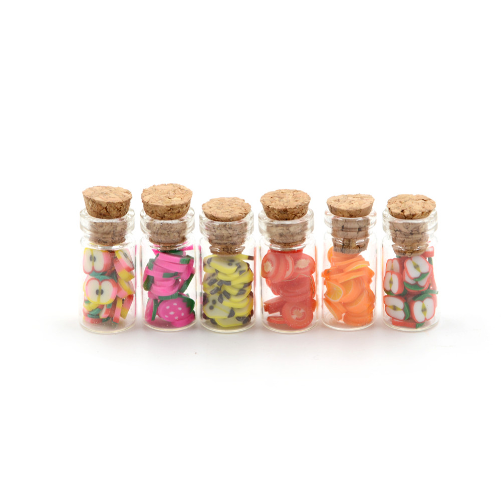 4pcs New Miniature Glass Storage Jars with Lids Fruit Slices for 1//12 Dollhouse