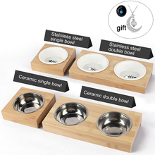 Pet Feeder Dog Bowl Bamboo Stainless Steel Ceramic Feeding and Drinking Combination with Frame for Cats