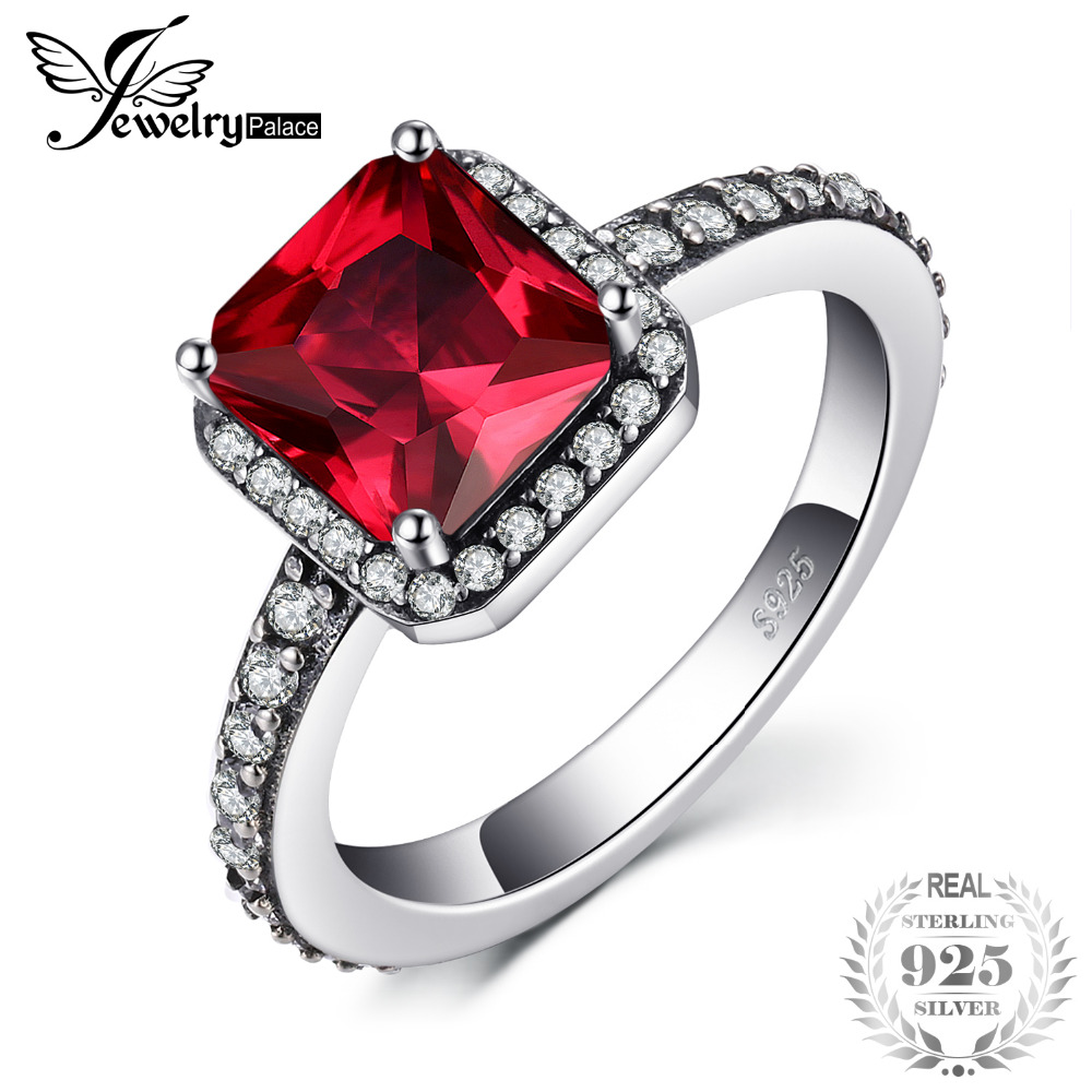 Jewelrypalace 925 Sterling Silver Created Ruby Ring  Gifts For Women Anniversary Gifts Fashion Jewelry New Princess EngagementJewelrypalace 925 Sterling Silver Created Ruby Ring  Gifts For Women Anniversary Gifts Fashion Jewelry New Princess Engagement