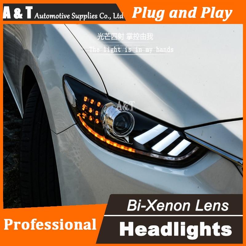 Car Styling New For Mazda 6 led headlights 2014-2015 Led Mazda6 head lamp Angel eye led drl H7 hid Bi-Xenon Lens low beam  car styling led head lamp for ford kuga led headlights 2014 taiwan escape angel eye drl h7 hid bi xenon lens low beam