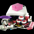 36W UV Gel Dryer Lamp Nail Art Buffer Block False Nail Glitter Sheets Top Coat Cleanser Plus Nail Cutter Kits N023