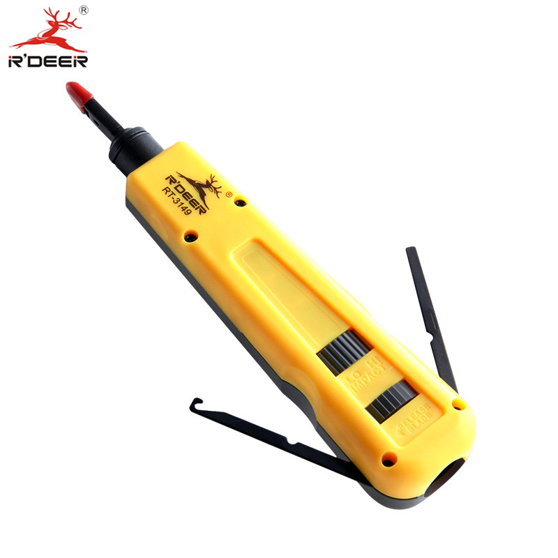 RDEER Punch Down Tool Pliers Adjustable Telecom Impact Tool Terminal Board Crimping Cable Network Tool