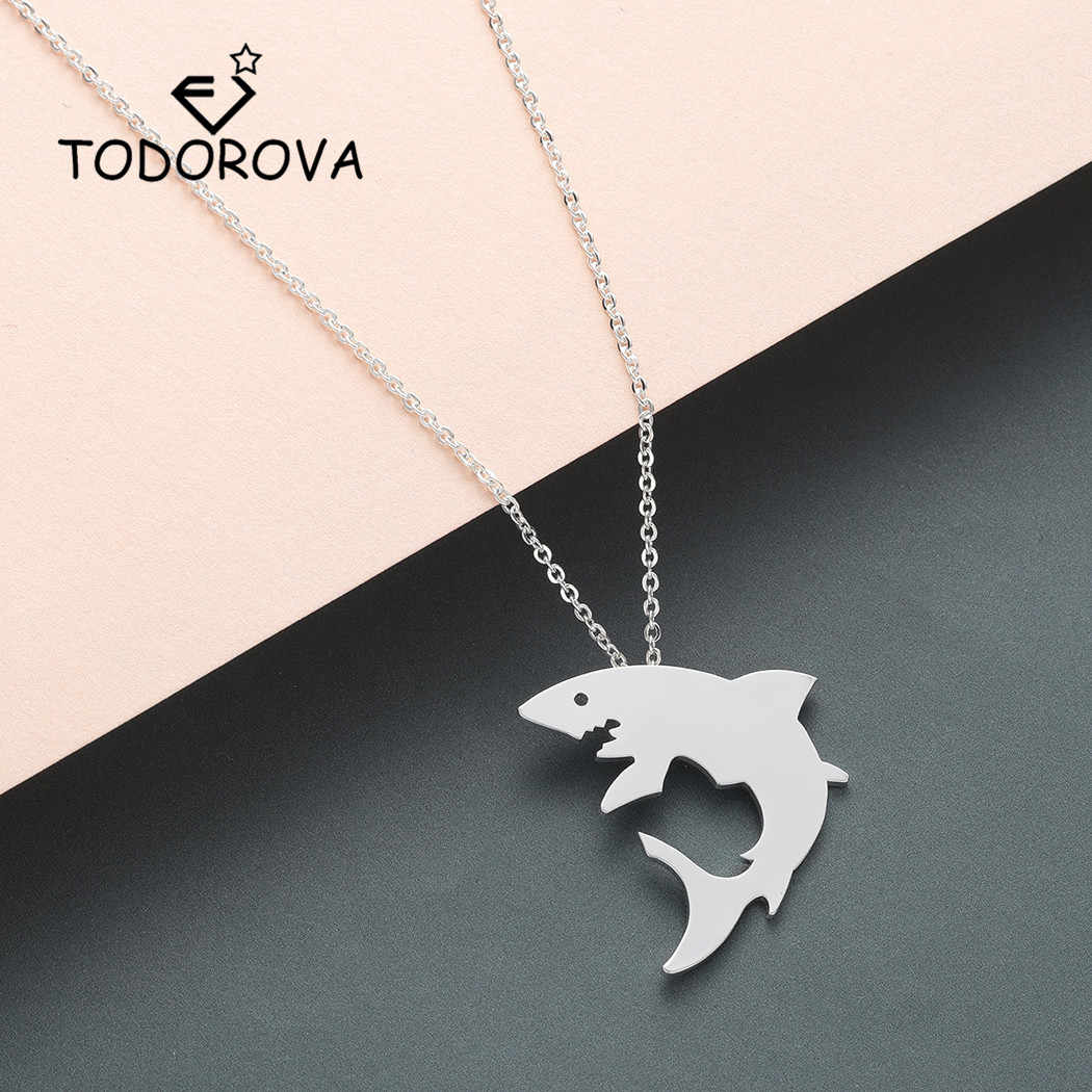 Todorova Stainless Steel Cute Great White Shark Silhouette Pendant Necklace Women Ocean Animal Necklace Men Jewelry