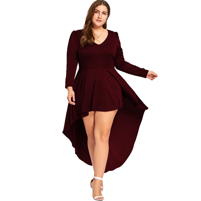 Kenancy Women Plus Size V Neck Party Dress Spring Long Sleeve Slim ...