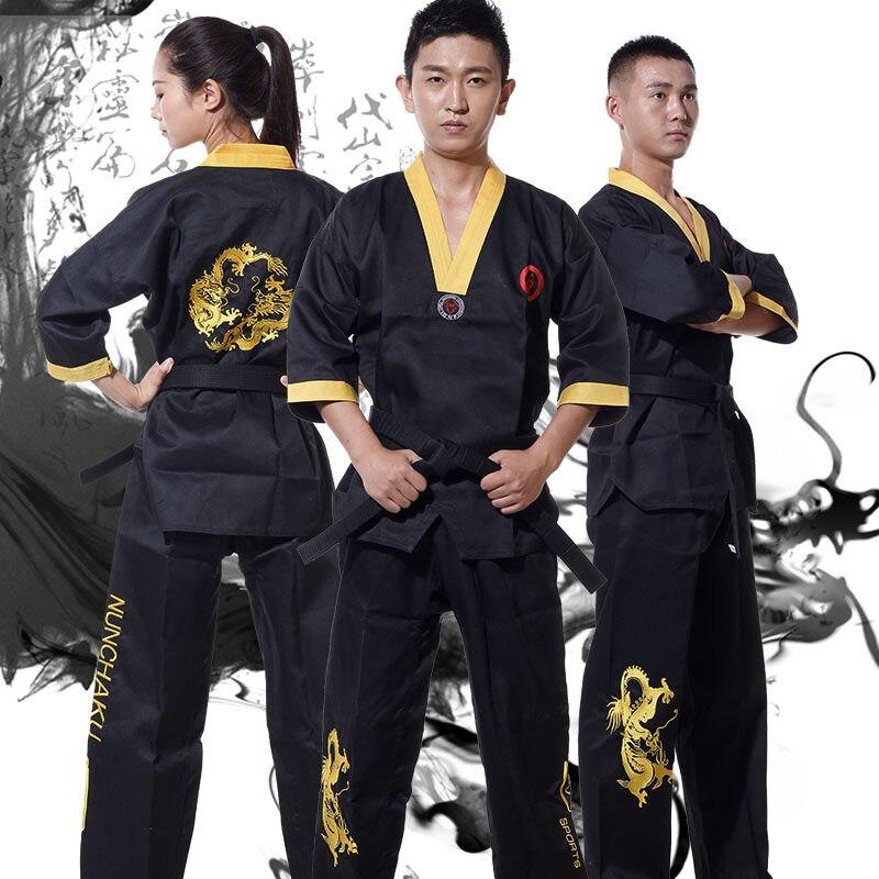 Crianças & Adulto UNISEX Kung Fu JKD Jeet kune fazer Roupas uniformes de Artes Marciais nunchakus roupas conjuntos terno bordado preto