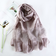 купить 2019 Luxury Brand Women Scarf High Quality Silk Scarves Shawl Lady Soft Wool Pashmina Elegant Embroidery Pearl Scarf Wrap Winter дешево