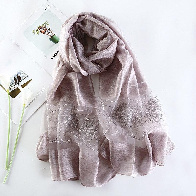 2019 Luxury Brand Women Scarf High Quality Silk Scarves Shawl Lady Soft Wool Pashmina Elegant Embroidery Pearl Scarf Wrap Winter