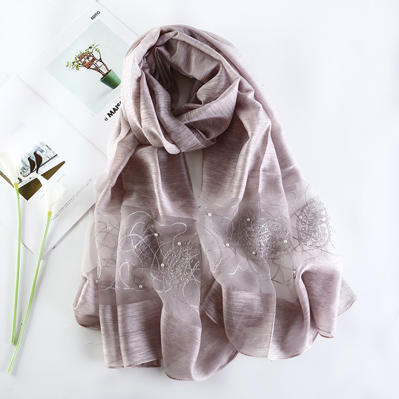 2019 Luxury Brand Women   Scarf   High Quality Silk   Scarves   Shawl Lady Soft Wool Pashmina Elegant Embroidery Pearl   Scarf     Wrap   Winter