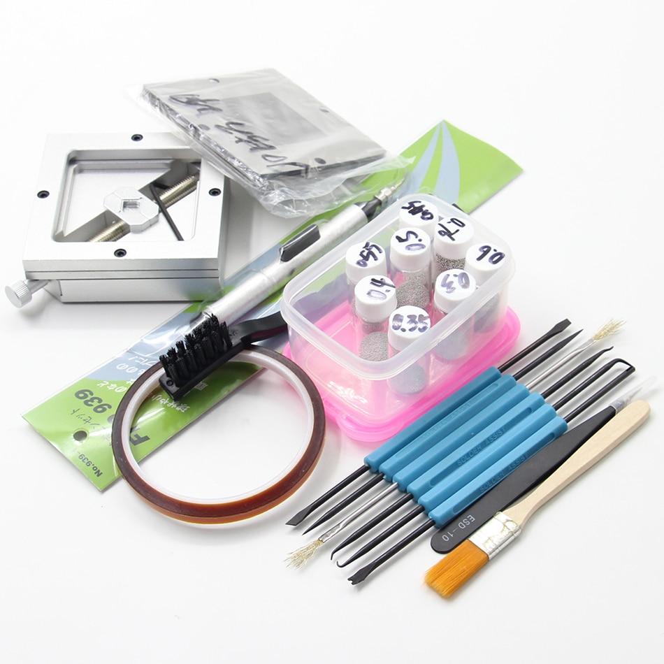 Серебряная диагональная BGA reballing kit 90*90 мм BGA reballing station с 10/шт Универсальные трафареты BGA шаблон