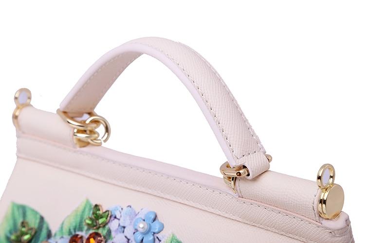 Luxury Designer Inspired Women Handbag Real Leather Embellishments Hydrangea Printed Mini Leather Shoulder Bag (10)