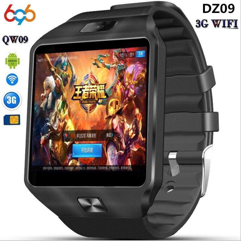 696 3G WI-FI QW09 Android Smart часы DZ09 512 МБ/4 ГБ Bluetooth 4.0 реальном шагомер sim-карты вызов анти-потерянный SmartWatch PK DZ09 GT08