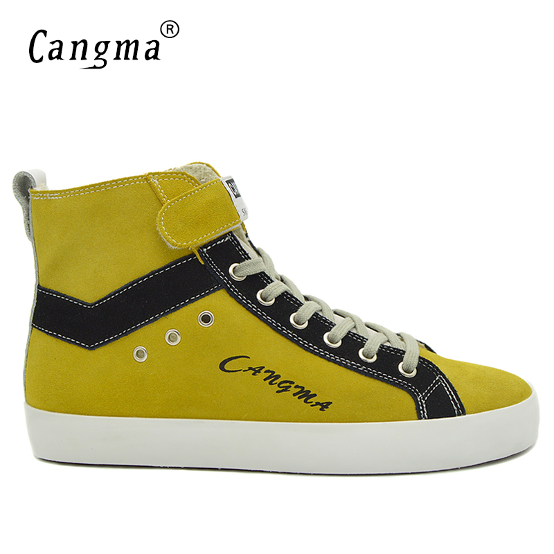 CANGMA Italian Designer Men Boots Handmade Casual Shoes Autumn Yellow Genuine Leather Sneakers Ankle Boots Male Cow Suede Shoes