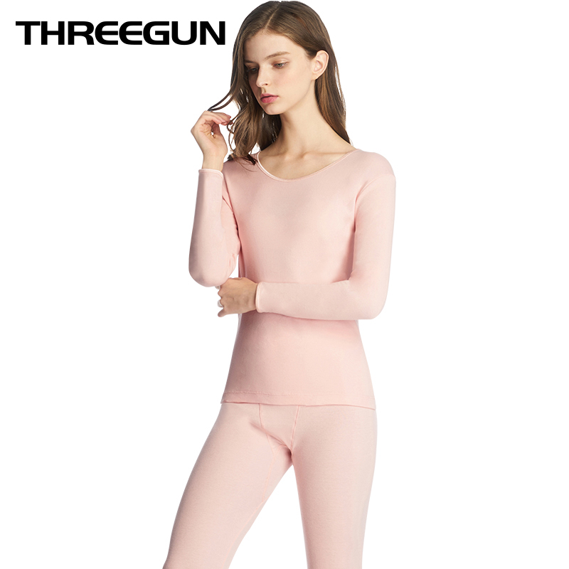 THREEGUN 100% Cotton Winter Underwear Women Warm Thermal Underwear Long Johns Set Thermal Female Seamless Breathable Ropa Termic