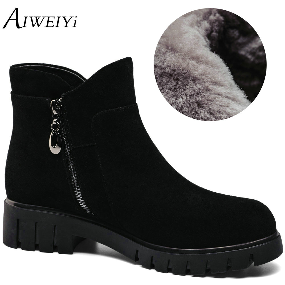 Details about women luxury diamond fashion snow boots rabbit fur boots - Aiweiyi 2017 Women S Snow Boots Genuine Leather Ankle Boots Thick Fur Warm Winter Snow Boots Casual