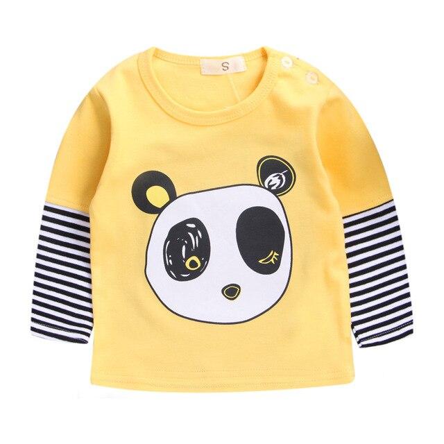 Розничный бренд 100% хлопок весной детей новорожденных девочек одежда футболки детская блузка с длинным рукавом мальчики майка мультфильм свободного покроя милый