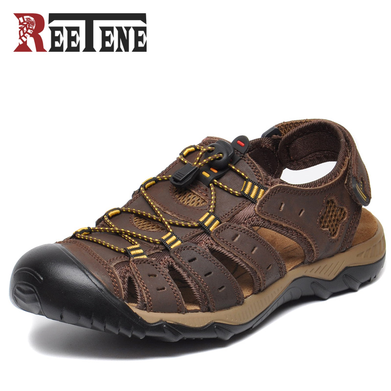 REETENE Plus Ukuran 38-47 Pria Sandal Kulit Asli Sepatu Fashion Musim Panas Pria Sandal Bernapas Sepatu Kausal