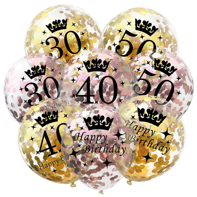 5pcs 30th 40th 50th Birthday Party Decorations Ballon Happy Number Balloons Baby Shower Wedding