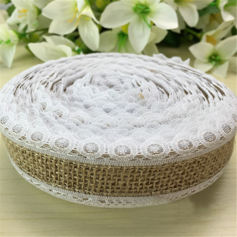 DIY Lace Edge Natural Hessian Burlap Jute Ribbon Party decoration Vintage Rusitc Wedding Gift Wrapping HB021