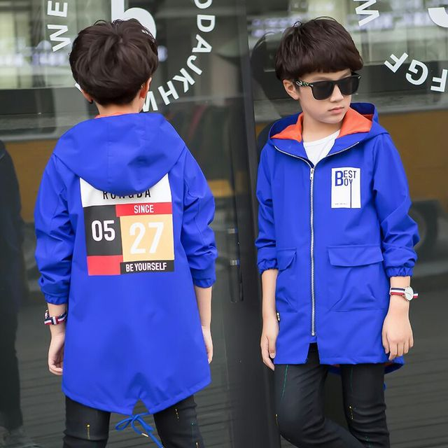 2018 new children's clothing spring boy jacket children's windbreaker in the long section of the big boy Korean shirt boy spring