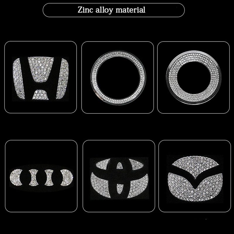 Car Accessories For Volkswagen Audi Volvo Lexus Hyundai Honda Mazda Toyota Car Steering Wheel Logo Diamond Decoration Stickers
