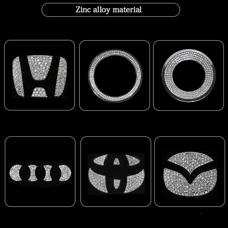 Car Accessories For Volkswagen Audi Volvo Lexus Hyundai Honda Mazda Toyota Car Steering Wheel Logo Diamond Decoration Stickers